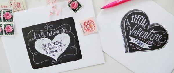 Authentieke krijtbord Valentijn etiketten. Wauw!