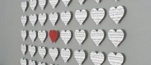 Hartvormig collage op je muur