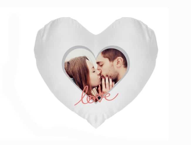 Hart kussen met opdruk om blij van te worden romantischcadeau