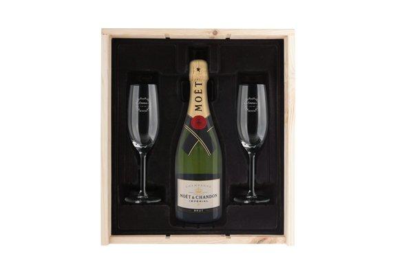 Luxe Champagnepakket Met Gegraveerde Glazen